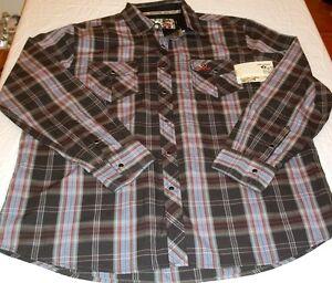 Mens Mossy Oak Charcoal Button Dress Shirt 2XLarge 50-52 New W Tags Blue Brown