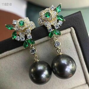 gorgeous pair of 10-11mm tahitian black green round pearl earring 925s