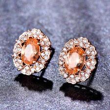Gorgeous Shiny Honey Morganite White Topaz Rose Gold Plated Stud Hook Earrings