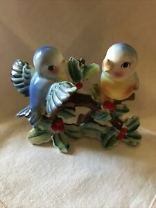 Vintage Norcrest Anthropomorphic Bluebirds On A Holly Bush Figurine