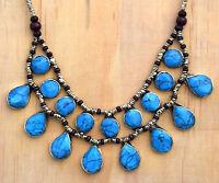 Turquoise Bib Afghan Kuchi Necklace Tribal Jewelry Bohemian Cassidy Ethnic Boho