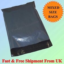 100 MIX MAIL BAG GREY PLASTIC PARCEL PACKAGING 12 x 16 & 10 x 14 Cheapest OFFER