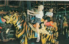 VINTAGE POSTCARD , MERRY GO ROUND - TIGER - KID- KENNYWOOD PARK, PITTSBURGH, PA.