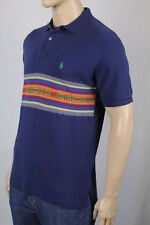 Ralph Lauren Large L Navy Blue Red Stripe Mesh Polo Shirt Classic Fit NWT