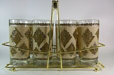 Mid Century Drinking Glasses Set of 8 Hollywood Regency Barware in Caddy