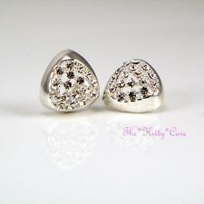 Silver Rodium Plated Geometric Triangular Stud Earrings w/ Swarovski Crystals