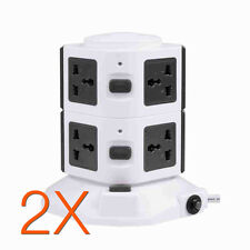 7 Way+2 USB 4.5A Overload Protected  Vertical Extension Lead Socket 7Gang- 3m x2