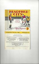 Bradford City v Manchester United League Cup Football Programme 1960/61