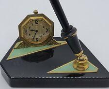 Antique Working 1920's ELGIN Art Deco Desk Clock Stand with Parker Fountain Pen