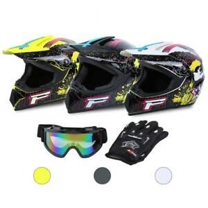 Motocross Helm Integralhelm + Cross Brille + Handschuhe S-XL