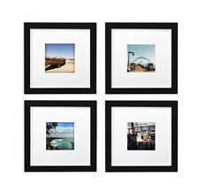 Smartphone Frames Collection,Set of 4, 8x8-inch Square Photo Wood Frames,Black