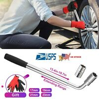 Lug Wrench Standard Sockets Telescoping Extendable Car Tire Wheel Nut Tool