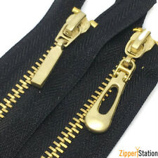 Brass Closed end #3 Zippers. Black zip with gold brass teeth 18cms to 10cms