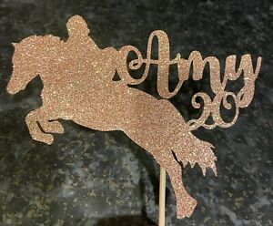 Personalised Glitter Horse Riding Cake Topper