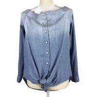 Fifteen Twenty Women's Button Front Shirt Medium Tie Blue White Striped Hambre