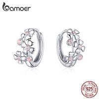 BAMOER CZ Sakura Fine S925 Sterling silver DIY Stud Earrings For Women Jewelry