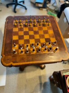 Theodore Alexander Chess Table with Custom Full Set of Chess Pieces