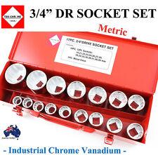 "TEK-CHROME 3/4"" DR SOCKET SET TRADE QUALITY CRV TOOLS METRIC S/ SPECIAL"