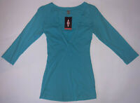 COASTAL CLASSICS Women's Medium Sky Blue Long Sleeve Henley Top T-Shirt USA New