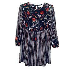Zara Girls Sz 9 Floral Boho Tassle Front Dress