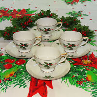 Vintage Lefton China Christmas Holly Berry Cup + Saucer Set of 4 HTF 03028