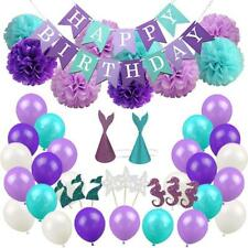Birthday 76Pcs Mermaid Party Supplies Ballon Banner Toppers Hat Baby Shower