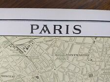 "Vintage 1900 PARIS FRANCE Map 11""x14"" ~ Old Antique Original EIFFEL TOWER LOUVRE"