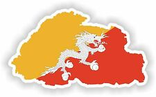 Sticker Silueta Bután Mapa Bandera Para Parachoques Guitarra Patineta Locker Tablet