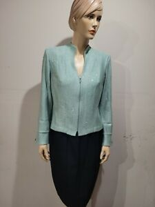 ST JOHN Evening size 12 Seafoam Green Blazer Jacket