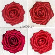 "10 25  56mm 2.2/"" Big Flower Rose Leaves Tails Satin Ribbon Handmade Eco Quality"