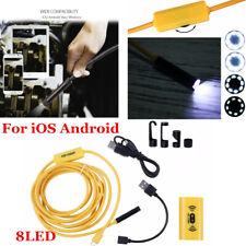 2M/8mm Endoscope Borescope WiFi inspection Mini Camera 8 LED For IOS Android