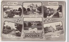 Hampshire; Romsey Multiview PPC, 1907 PMK, By Photochrom, Burts Mill, Abbey, etc