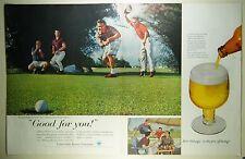 Vintage 1959 U.S. BREWERS ASSOC Large 2-Pg Magazine Print Ad: BEER & GOLF!