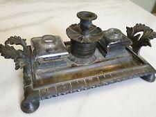antique regency period brass double inkwell desk set