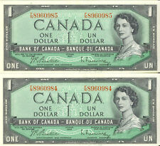 Bank of Canada 1954 $1 One Dollar Lot of 2 Consecutive Notes Choice UNC F/N