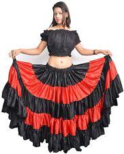 "Back Red Satin Flamenco Skirt Belly Dance Tribal Gypsy 25 Yard 40"" Long By WEVEZ"