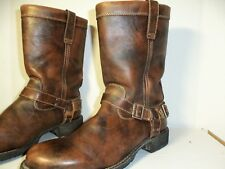 """Durango 10"""" Harness Motorcycle Boots Women 10M Brown Distressed Leather w/Buckle"""