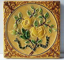 Vintage Majolica Tile Roses and Ribbon 6�