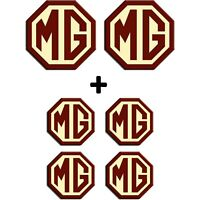 MG TF Set Front & Rear 70mm with 45mm Wheel Centre Caps Badges Burgundy Cream