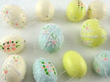 Vintage Easter Egg Ornaments Set Pastel Yellow/Blue/Cream/Pink Shabby Chic