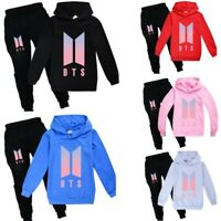 Kpop BTS Kids Tracksuit Hoodies Sweatshirt Top+Trousers Set Boys Girls Outfits