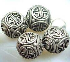 Handmade Carved Tibetan Silver Ball (5 pcs)
