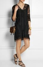 KATE MOSS TOPSHOP 1/200 BLACK EMBROIDERED  CROCHET LACE LBD DRESS 8 36 4 BNWT