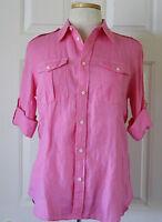 NWT Womens Ralph Lauren Military 3/4 Sleeve Linen Button Shirt Blouse Pink 6