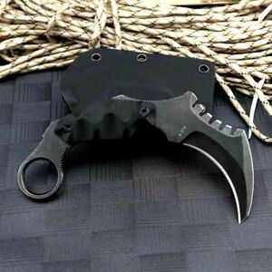 Karambit Claw Knife Serrated Hunting Wild Tactical Combat AUS-8 Steel G10 Handle