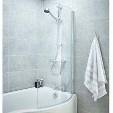 Premier P-shaped Shower Bath Screen 1400mm High X 720mm Wide 6mm Glass