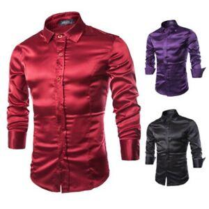 Mens Satin Shiny Silk Smart Casual Dress Wedding Sleeve Shirt Wet Look Smart