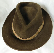 Vintage Woodrow green hat Terylene and fur 56/57 cm British size 7 Medium