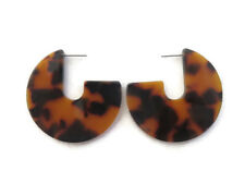 Women's Resin Tortoise Shell Thick Flat Arch Round Circle Hoop Drop Earrings