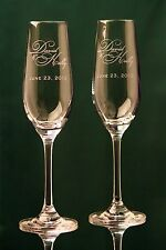 Personalized Wedding Toasting Glasses, Champagne Flutes, Style 1